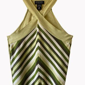 Green & White Chevron Silk Mix Halter Top